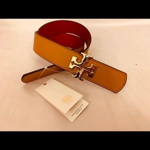 Tory Burch Reversible Logo Belt Leather 1 1/2 inch